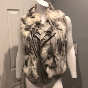 Leather and rabbit fur vest